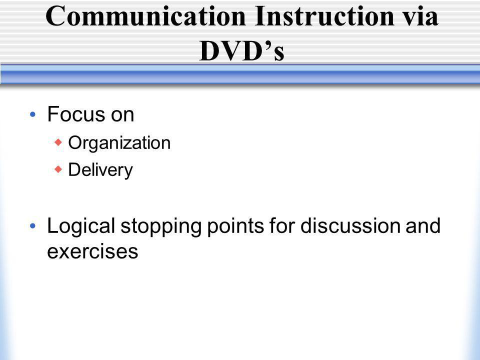 Communication Instruction via DVDs Focus on Organization Delivery Logical stopping points for discussion and exercises