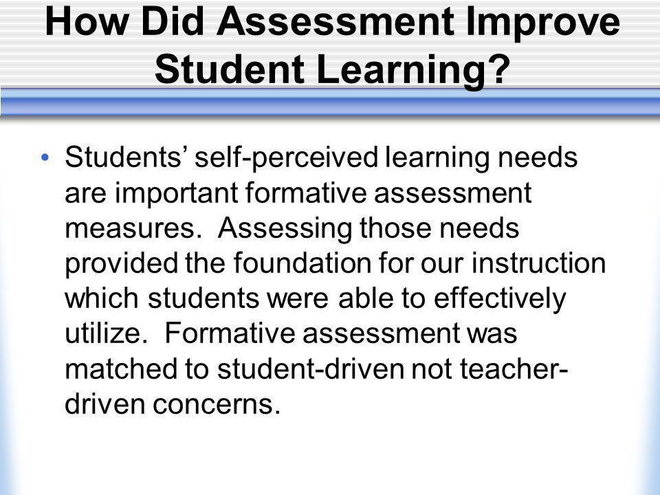 How Did Assessment Improve Student Learning.