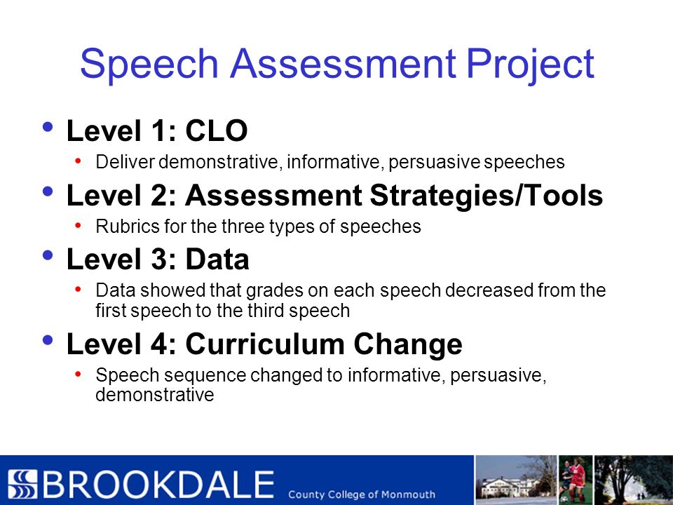 Speech Assessment Project Level 1: CLO Deliver demonstrative, informative, persuasive speeches Level 2: Assessment Strategies/Tools Rubrics for the th