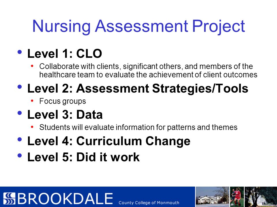 Nursing Assessment Project Level 1: CLO Collaborate with clients, significant others, and members of the healthcare team to evaluate the achievement o