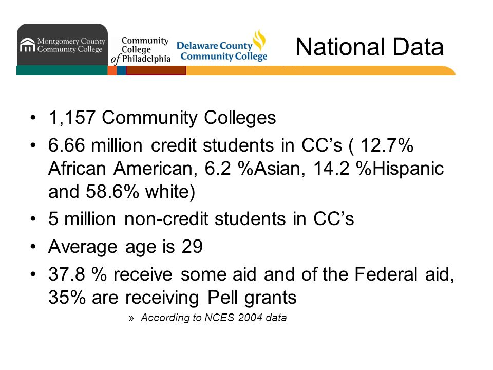 National Data 1,157 Community Colleges 6.66 million credit students in CCs ( 12.7% African American, 6.2 %Asian, 14.2 %Hispanic and 58.6% white) 5 million non-credit students in CCs Average age is 29 37.8 % receive some aid and of the Federal aid, 35% are receiving Pell grants »According to NCES 2004 data