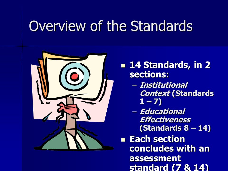 Overview of the Standards 14 Standards, in 2 sections: 14 Standards, in 2 sections: –Institutional Context (Standards 1 – 7) –Educational Effectiveness (Standards 8 – 14) Each section concludes with an assessment standard (7 & 14) Each section concludes with an assessment standard (7 & 14)