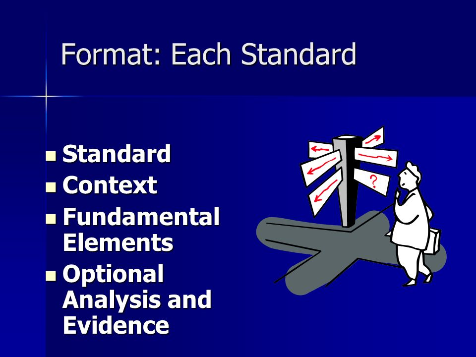 Format: Each Standard Standard Standard Context Context Fundamental Elements Fundamental Elements Optional Analysis and Evidence Optional Analysis and Evidence