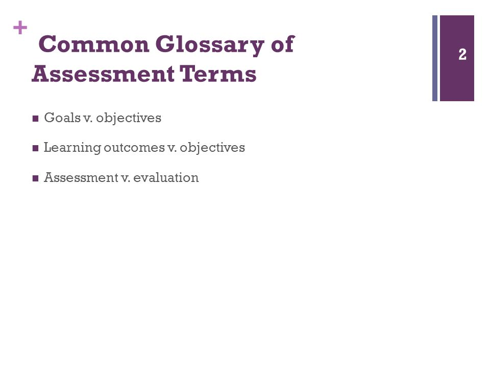 + Common Glossary of Assessment Terms Goals v. objectives Learning outcomes v.