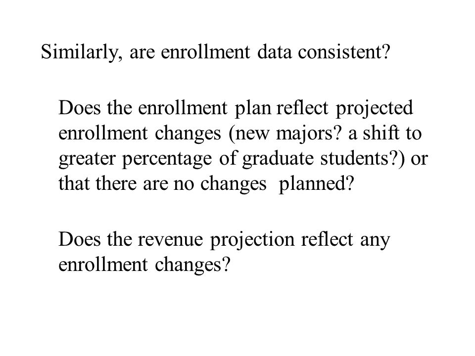 Similarly, are enrollment data consistent? Does the enrollment plan reflect projected enrollment changes (new majors? a shift to greater percentage of