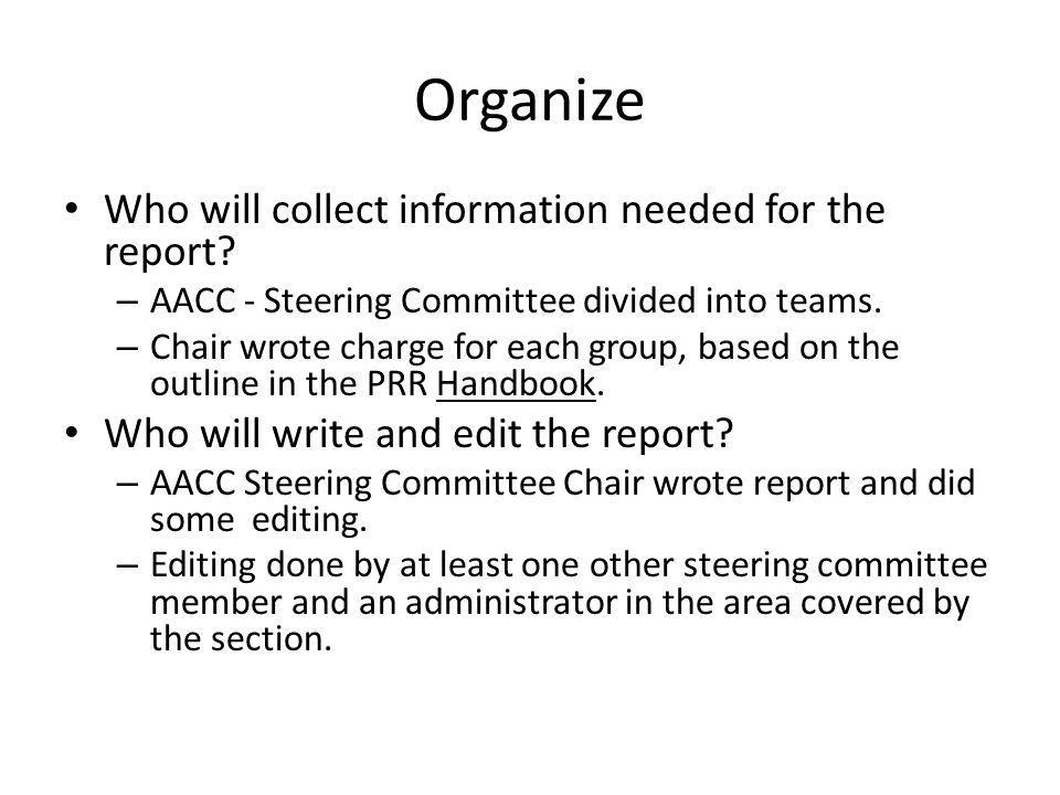 Organize Who will collect information needed for the report.