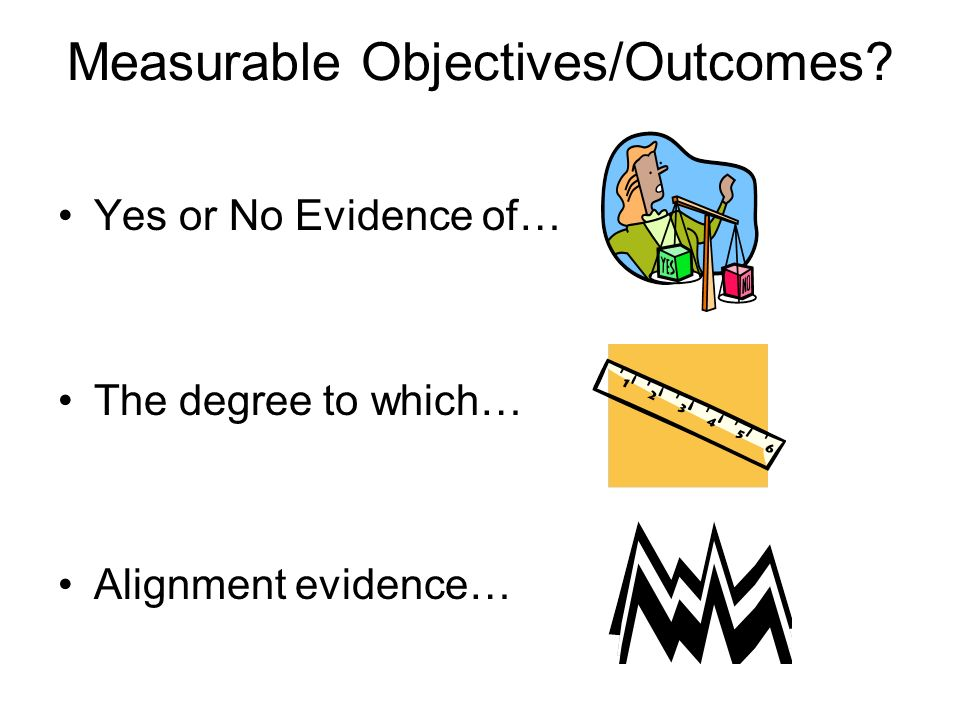 Measurable Objectives/Outcomes Yes or No Evidence of… The degree to which… Alignment evidence…