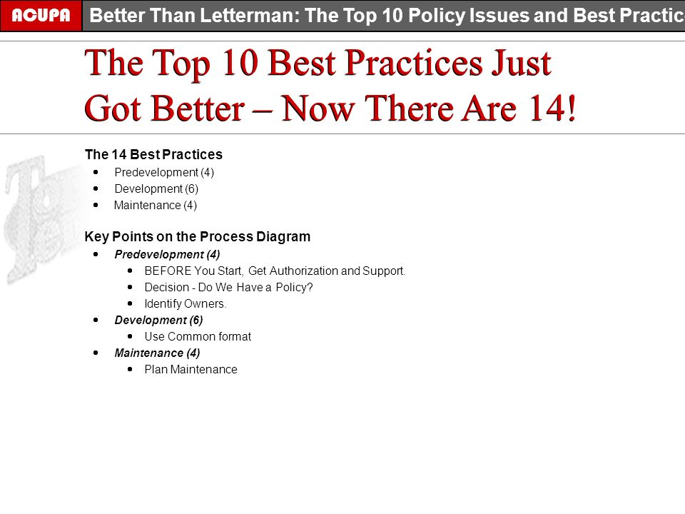 The Top 10 Best Practices Just Got Better – Now There Are 14! ACUPA Better Than Letterman: The Top 10 Policy Issues and Best Practices The 14 Best Pra