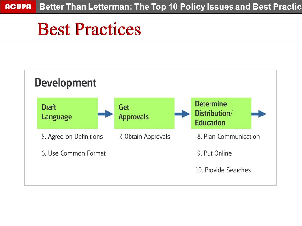 ACUPA Better Than Letterman: The Top 10 Policy Issues and Best Practices Best Practices