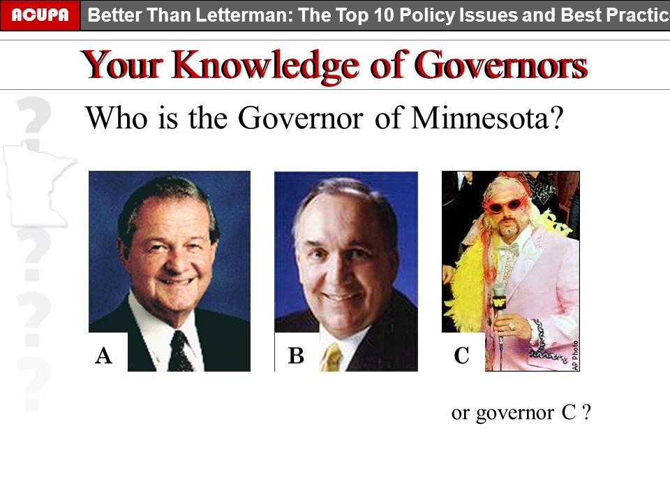 ACUPA Better Than Letterman: The Top 10 Policy Issues and Best Practices Your Knowledge of Governors Who is the Governor of Minnesota? ABC or governor
