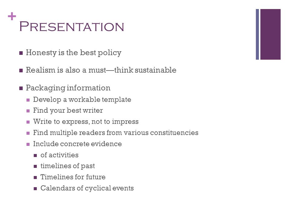 + Presentation Honesty is the best policy Realism is also a mustthink sustainable Packaging information Develop a workable template Find your best wri