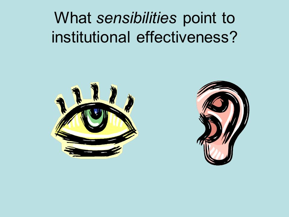 What sensibilities point to institutional effectiveness