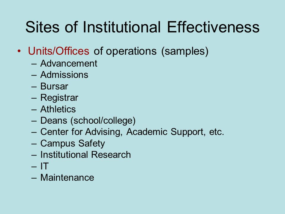Sites of Institutional Effectiveness Units/Offices of operations (samples) –Advancement –Admissions –Bursar –Registrar –Athletics –Deans (school/college) –Center for Advising, Academic Support, etc.