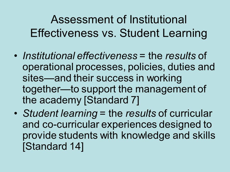 Assessment of Institutional Effectiveness vs.