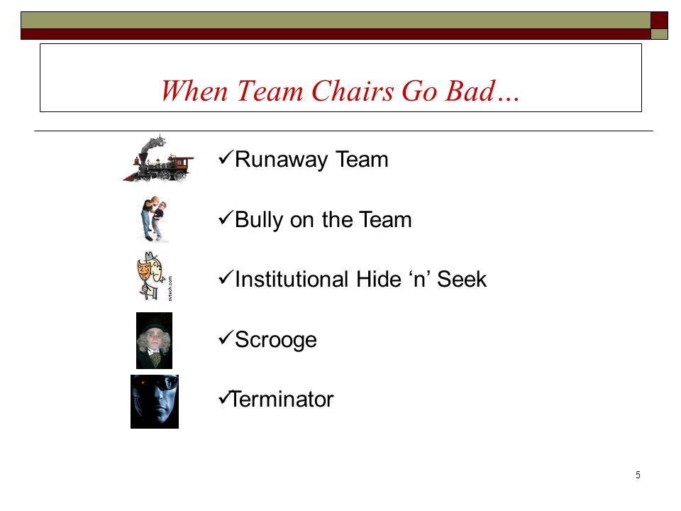 5 When Team Chairs Go Bad… Runaway Team Bully on the Team Institutional Hide n Seek Scrooge Terminator