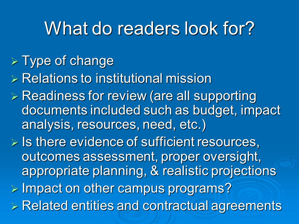 What do readers look for.