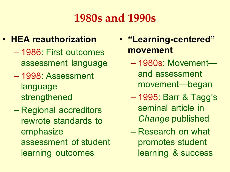 1980s and 1990s HEA reauthorization –1986: First outcomes assessment language –1998: Assessment language strengthened –Regional accreditors rewrote st