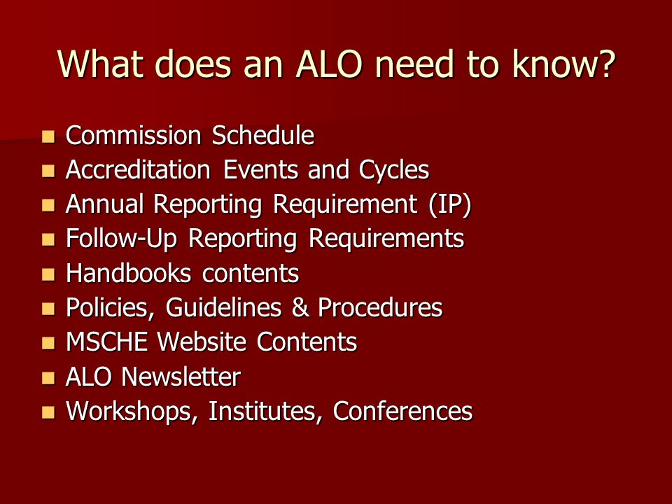 What does an ALO need to know.