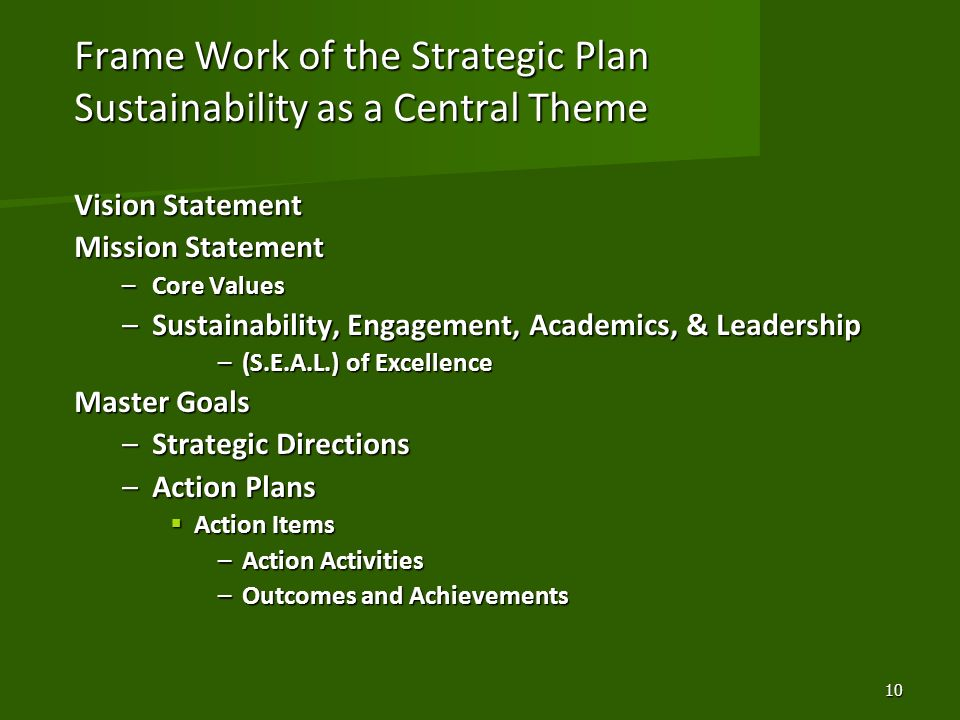 Frame Work of the Strategic Plan Sustainability as a Central Theme Vision Statement Mission Statement –Core Values –Sustainability, Engagement, Academ