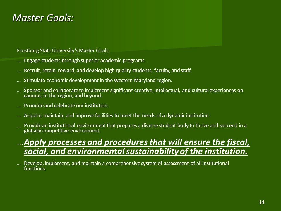 Master Goals: Frostburg State Universitys Master Goals: …Engage students through superior academic programs.