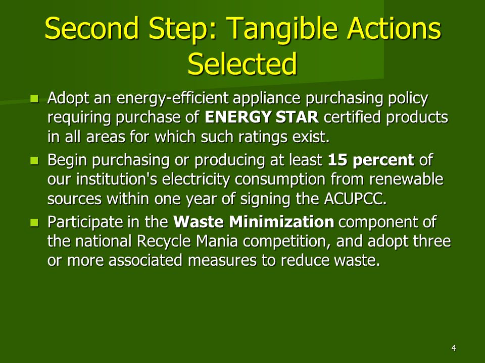 Second Step: Tangible Actions Selected Adopt an energy-efficient appliance purchasing policy requiring purchase of ENERGY STAR certified products in all areas for which such ratings exist.