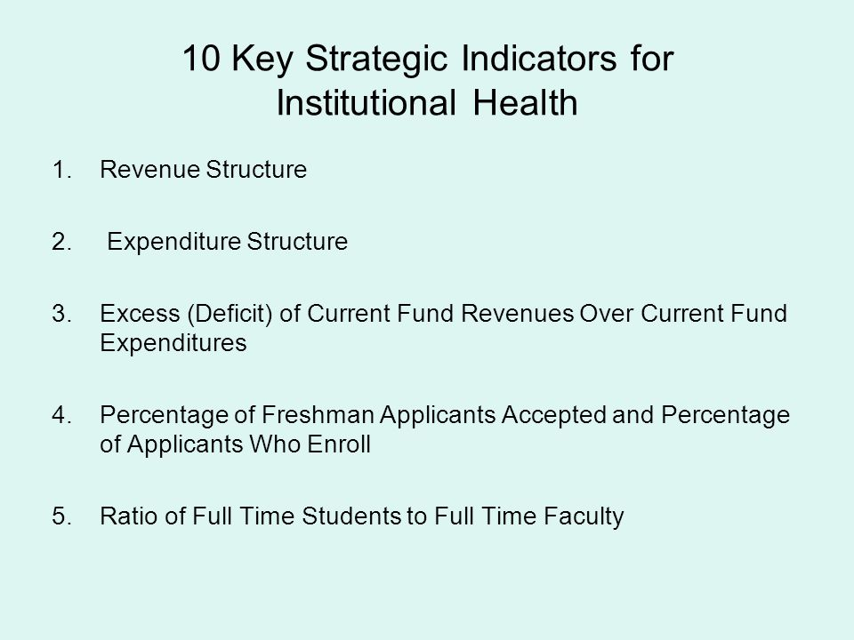 10 Key Strategic Indicators for Institutional Health 1.Revenue Structure 2. Expenditure Structure 3.Excess (Deficit) of Current Fund Revenues Over Cur