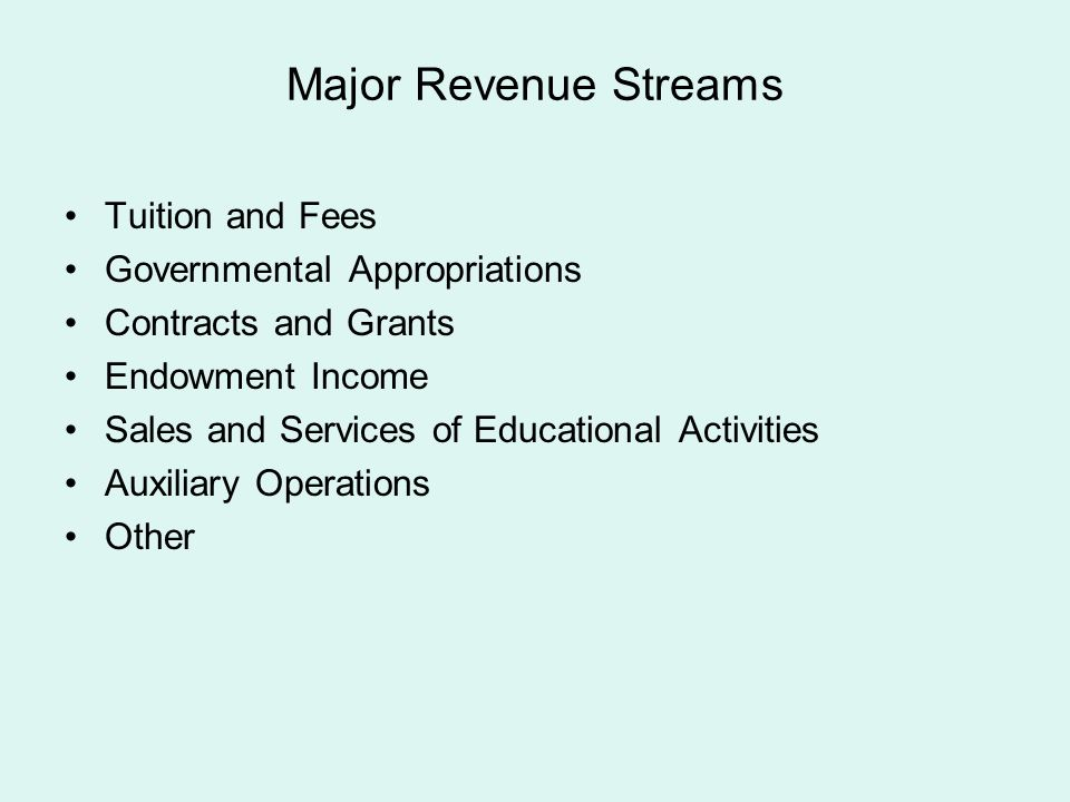 Major Revenue Streams Tuition and Fees Governmental Appropriations Contracts and Grants Endowment Income Sales and Services of Educational Activities