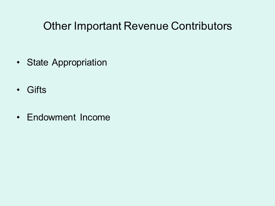 Other Important Revenue Contributors State Appropriation Gifts Endowment Income