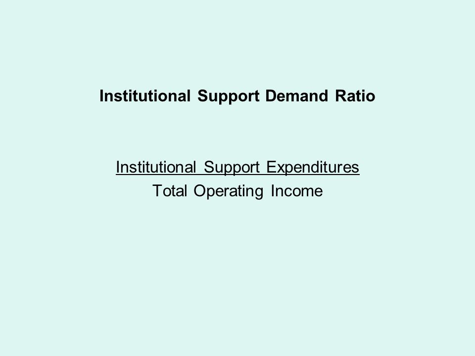 Institutional Support Demand Ratio Institutional Support Expenditures Total Operating Income