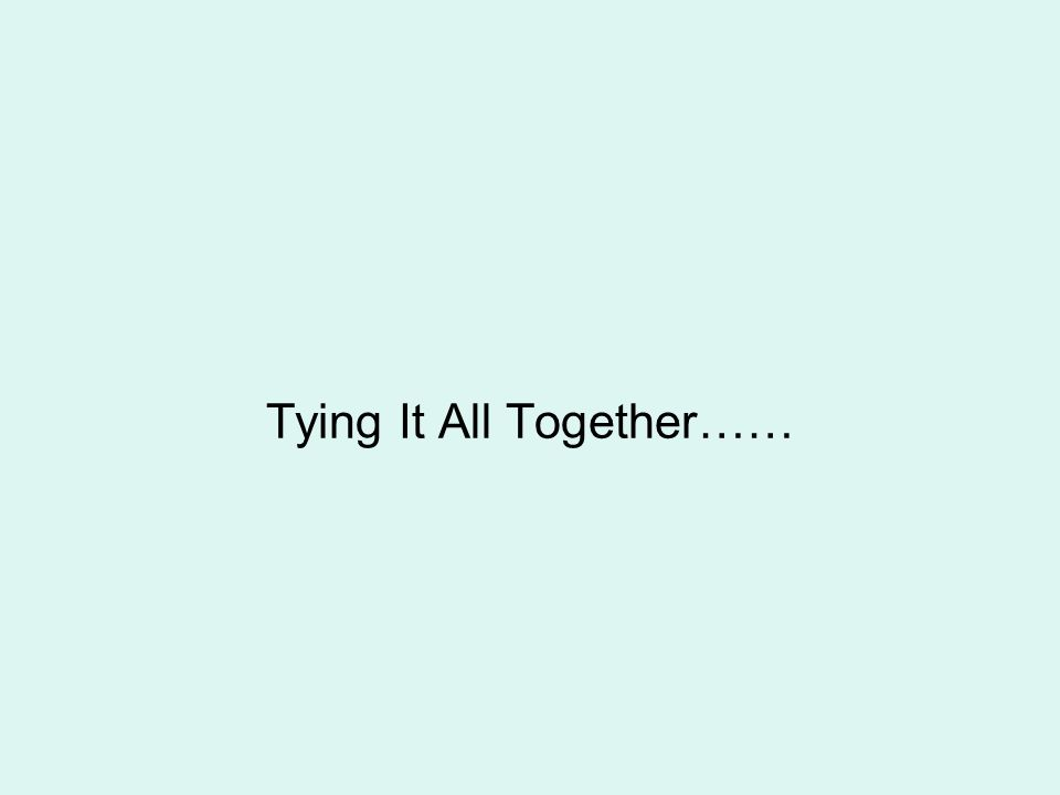 Tying It All Together……