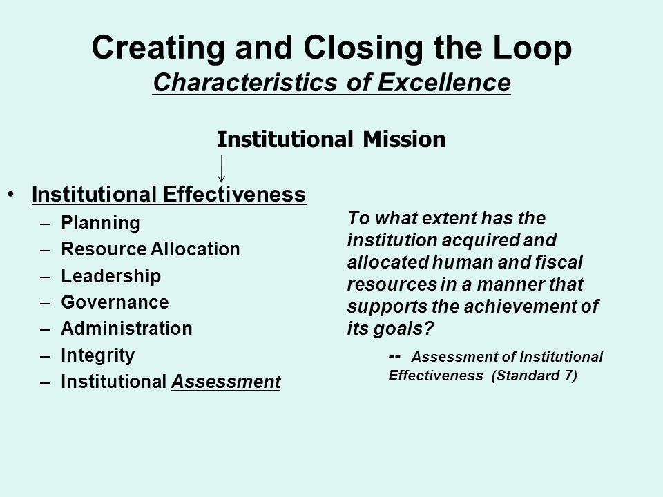 Creating and Closing the Loop Characteristics of Excellence Institutional Effectiveness –Planning –Resource Allocation –Leadership –Governance –Admini