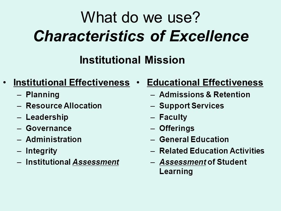 What do we use? Characteristics of Excellence Institutional Effectiveness –Planning –Resource Allocation –Leadership –Governance –Administration –Inte