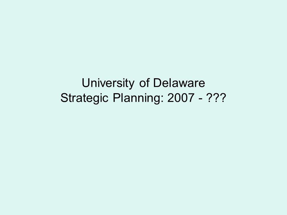 University of Delaware Strategic Planning: 2007 - ???