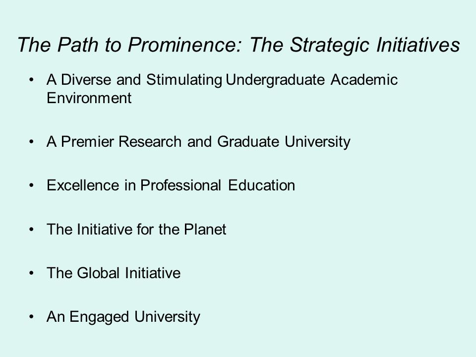 The Path to Prominence: The Strategic Initiatives A Diverse and Stimulating Undergraduate Academic Environment A Premier Research and Graduate Univers
