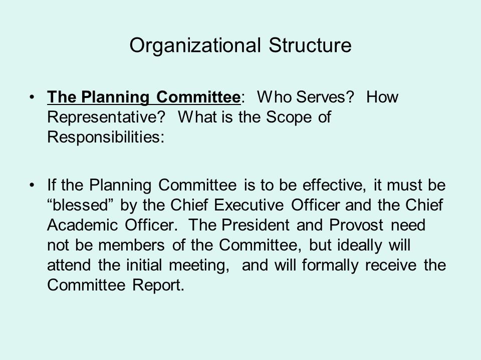 Organizational Structure The Planning Committee: Who Serves? How Representative? What is the Scope of Responsibilities: If the Planning Committee is t