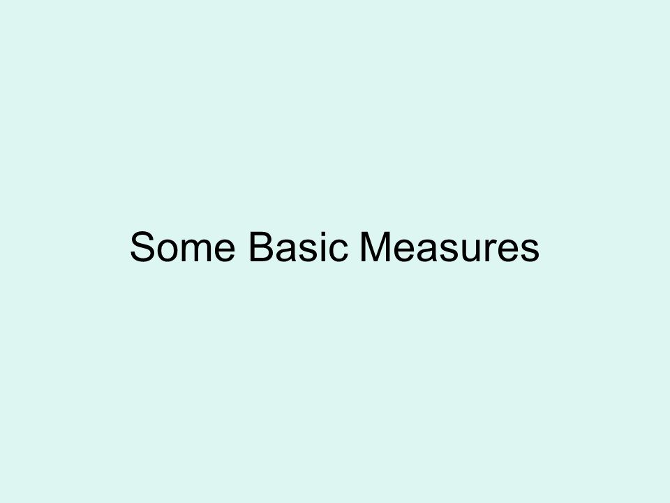 Some Basic Measures