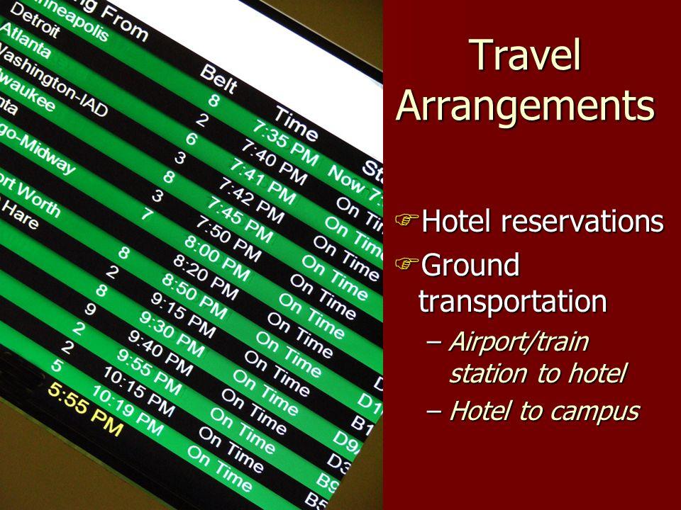 Travel Arrangements Hotel reservations Hotel reservations Ground transportation Ground transportation –Airport/train station to hotel –Hotel to campus