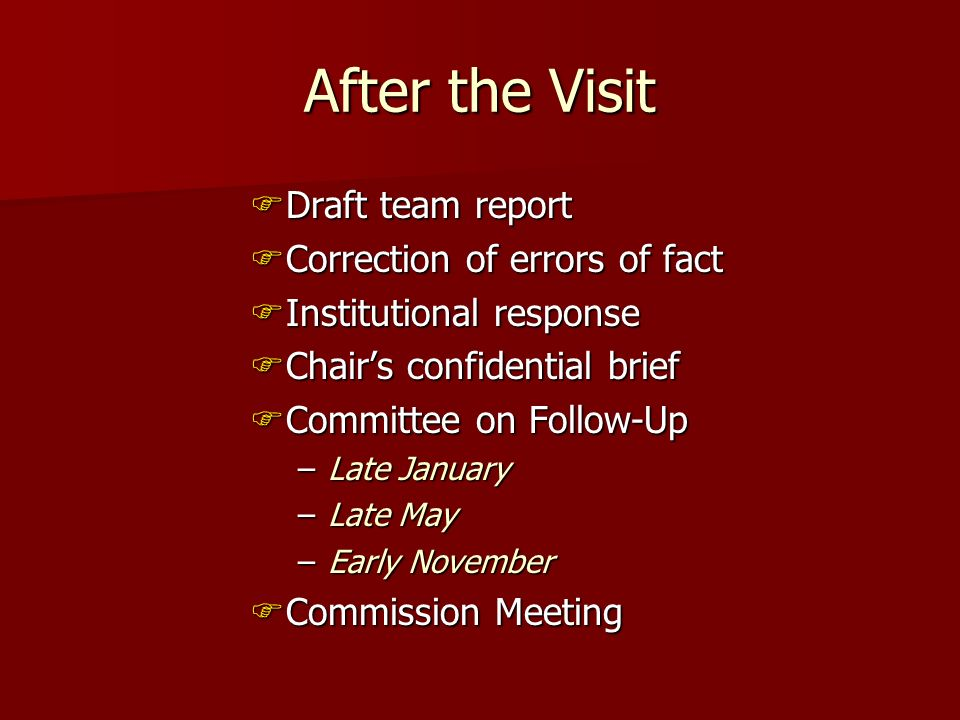After the Visit Draft team report Draft team report Correction of errors of fact Correction of errors of fact Institutional response Institutional res