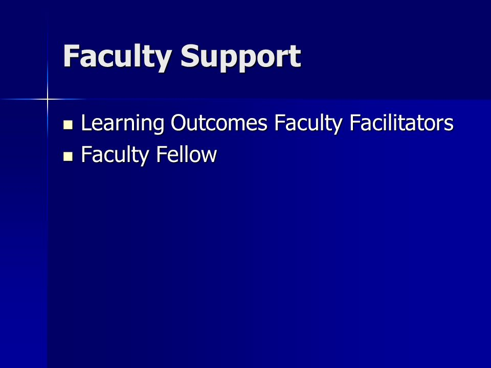 Faculty Support Learning Outcomes Faculty Facilitators Learning Outcomes Faculty Facilitators Faculty Fellow Faculty Fellow