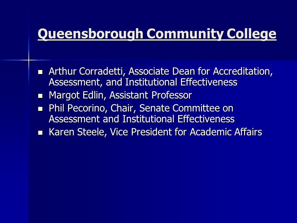 Queensborough Community College Arthur Corradetti, Associate Dean for Accreditation, Assessment, and Institutional Effectiveness Arthur Corradetti, As