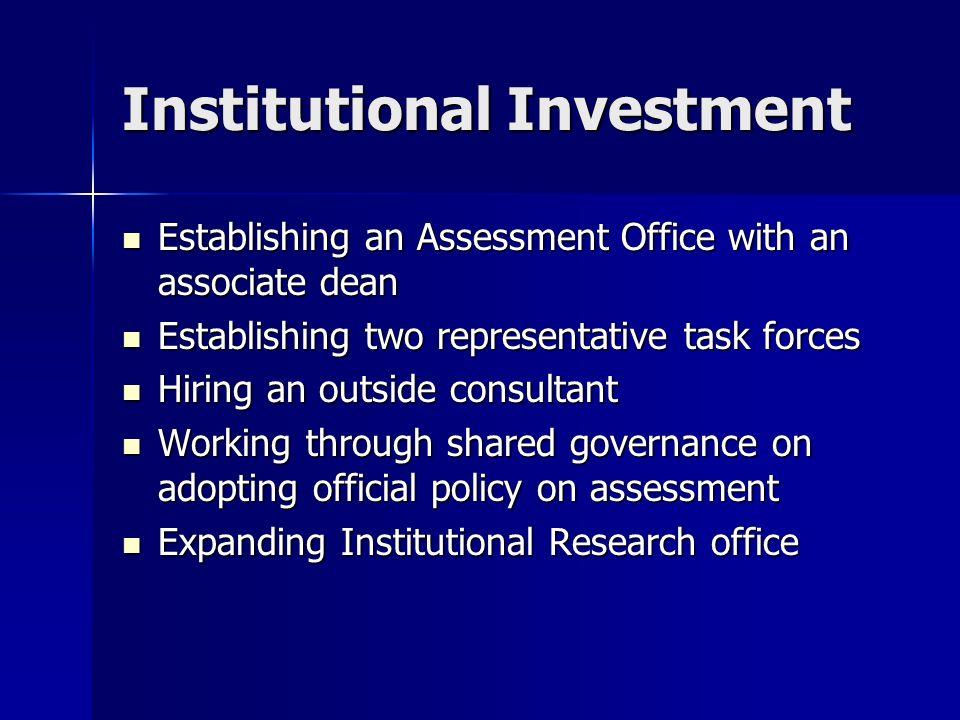Institutional Investment Establishing an Assessment Office with an associate dean Establishing an Assessment Office with an associate dean Establishin