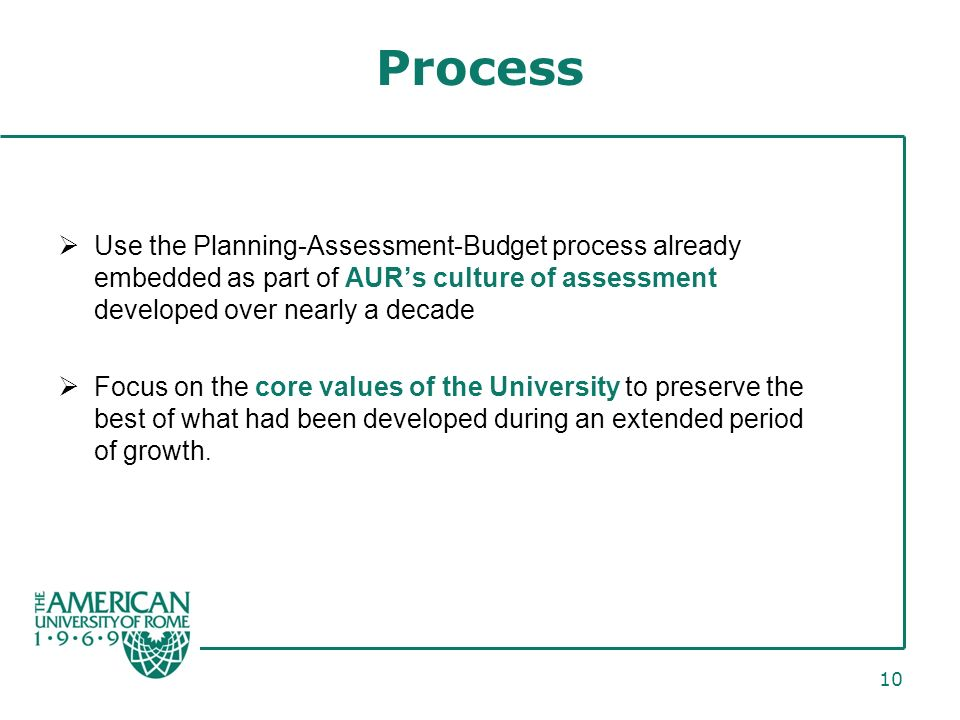 10 Process Use the Planning-Assessment-Budget process already embedded as part of AURs culture of assessment developed over nearly a decade Focus on the core values of the University to preserve the best of what had been developed during an extended period of growth.