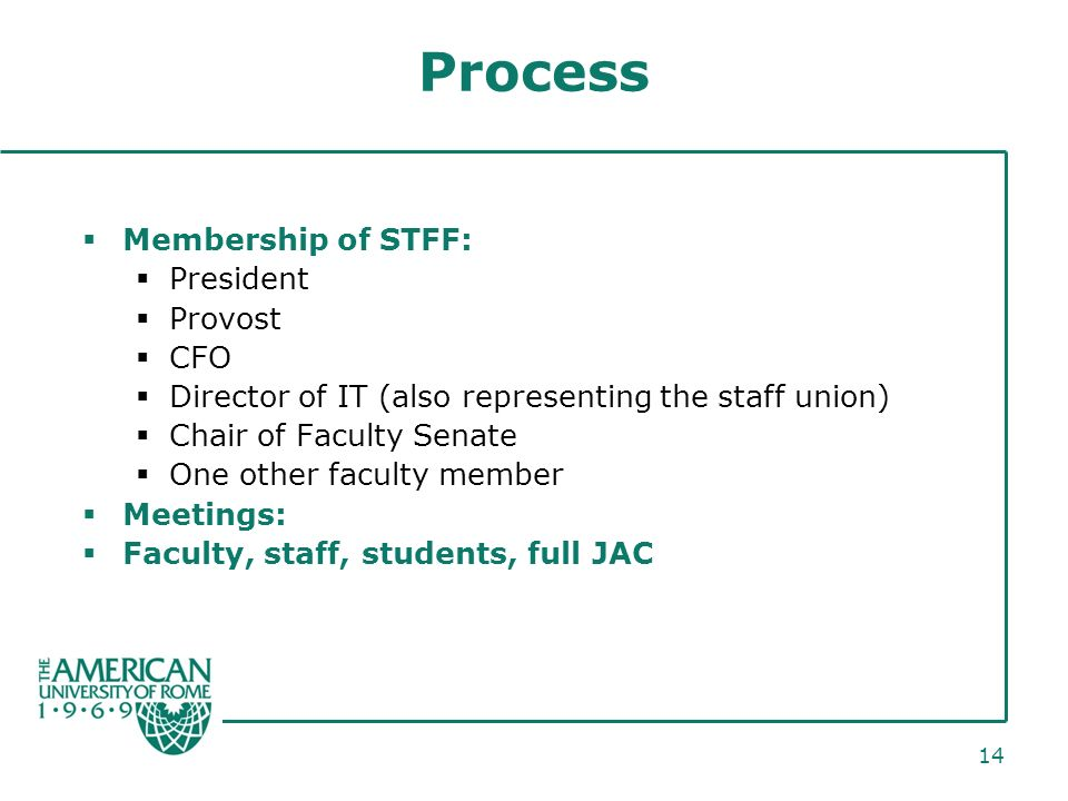 14 Process Membership of STFF: President Provost CFO Director of IT (also representing the staff union) Chair of Faculty Senate One other faculty member Meetings: Faculty, staff, students, full JAC