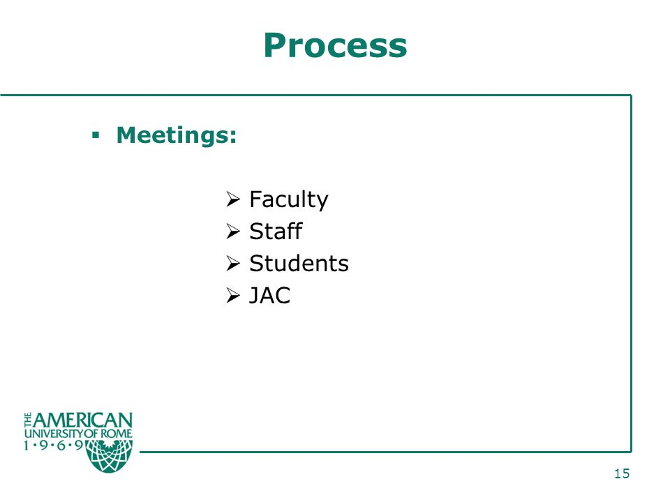 15 Process Meetings: Faculty Staff Students JAC
