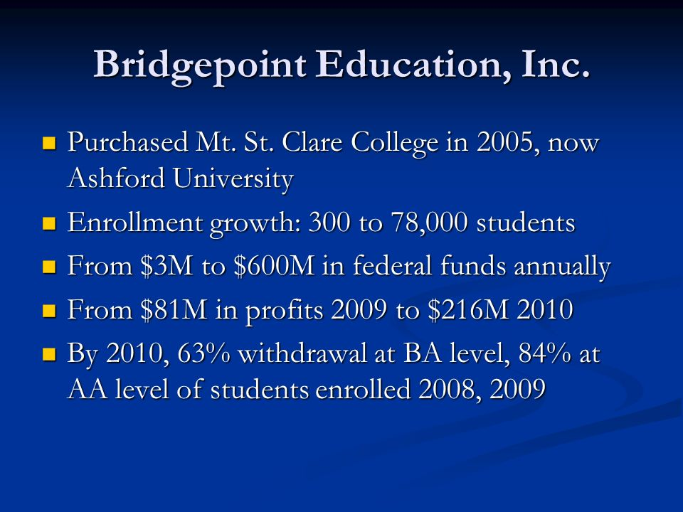 Bridgepoint Education, Inc. Purchased Mt. St. Clare College in 2005, now Ashford University Purchased Mt. St. Clare College in 2005, now Ashford Unive
