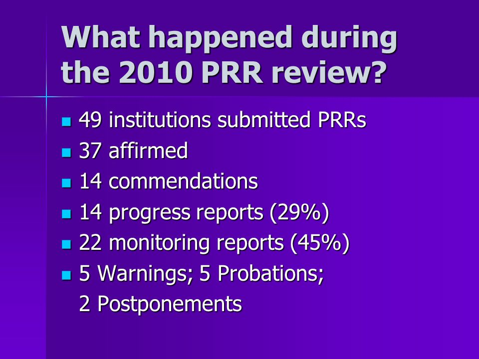 What happened during the 2010 PRR review? 49 institutions submitted PRRs 49 institutions submitted PRRs 37 affirmed 37 affirmed 14 commendations 14 co