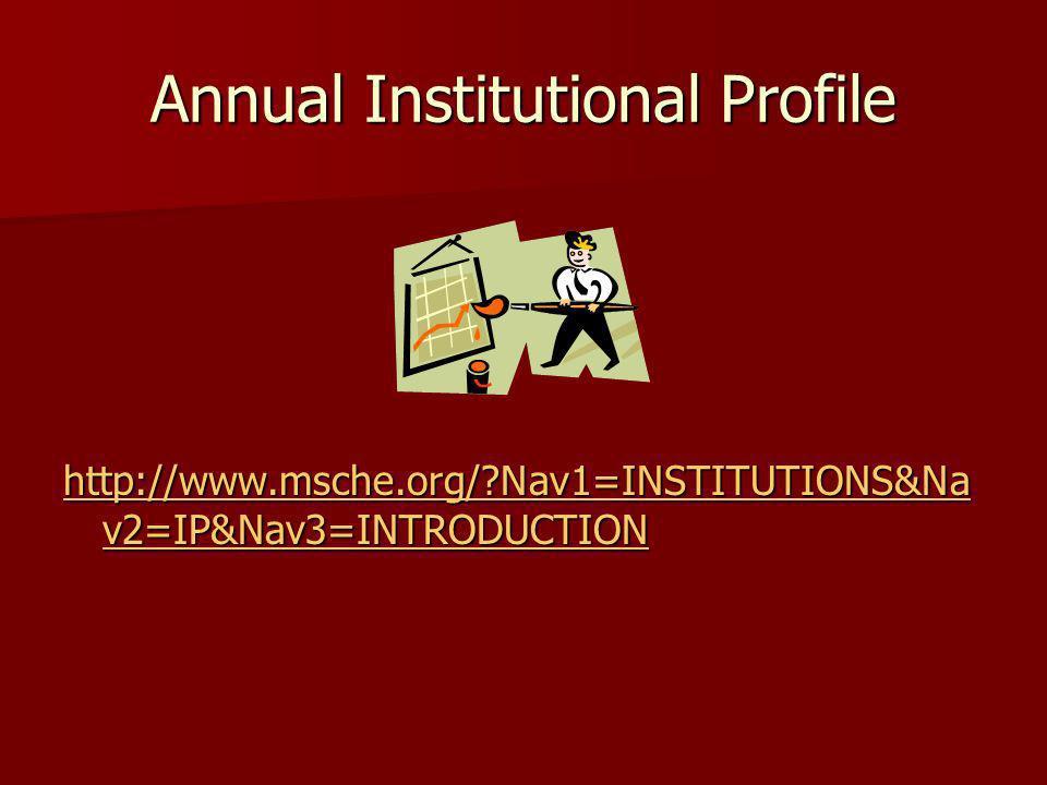 Annual Institutional Profile http://www.msche.org/?Nav1=INSTITUTIONS&Na v2=IP&Nav3=INTRODUCTION http://www.msche.org/?Nav1=INSTITUTIONS&Na v2=IP&Nav3=