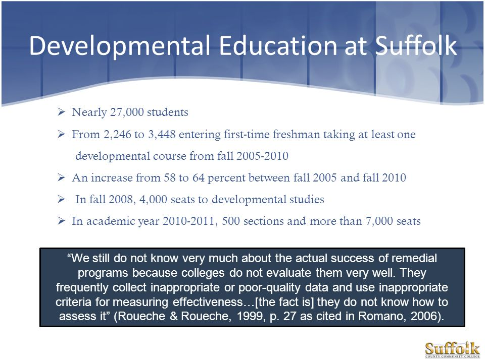 Developmental Education at Suffolk Nearly 27,000 students From 2,246 to 3,448 entering first-time freshman taking at least one developmental course fr