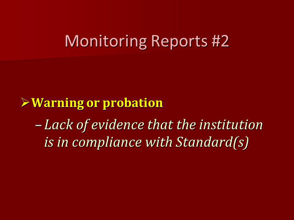 Monitoring Reports #2 Warning or probation Warning or probation –Lack of evidence that the institution is in compliance with Standard(s)