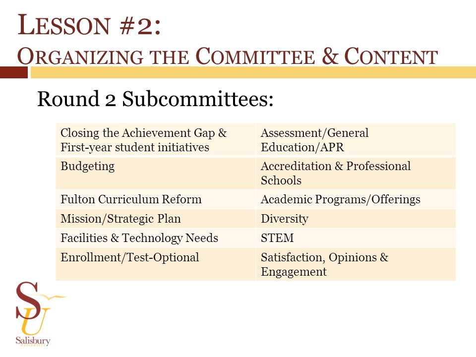 L ESSON #2: O RGANIZING THE C OMMITTEE & C ONTENT Round 2 Subcommittees: Closing the Achievement Gap & First-year student initiatives Assessment/Gener